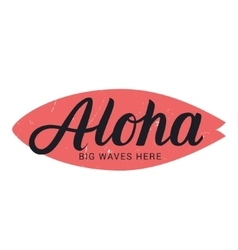 Aloha surfing hand draw lettering vector image