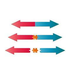 arrows and puzzle piece vector image vector image