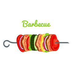 barbecue with meat vegetables fried meat vector image vector image