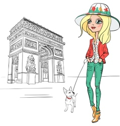 beautiful fashion girl in Paris vector image