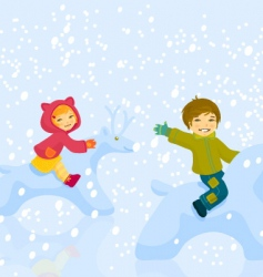 Boy and girl plaing vector