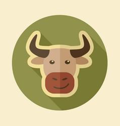 bull flat icon animal head vector image vector image
