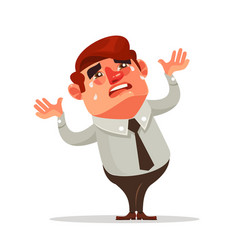 Businessman office worker character crying vector