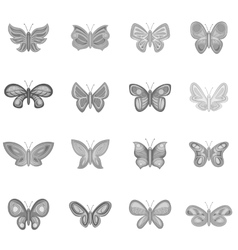 Butterfly fairy icons set monochrome style vector