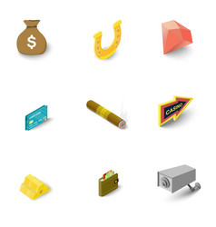 Casino things icons set isometric style vector
