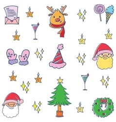 Doodle of cute christmas set collection vector image