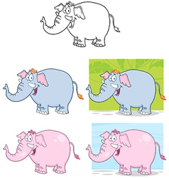 Elephants Characters Collection vector image vector image