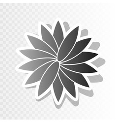 Flower sign new year blackish icon on vector