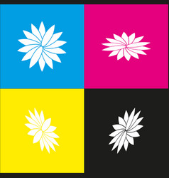 Flower sign white icon with isometric vector