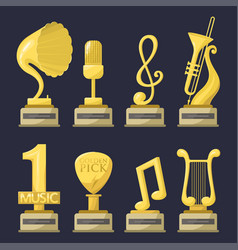 gold rock star trophy music notes best vector image vector image
