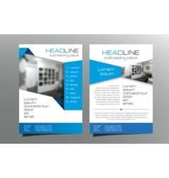 Grey blue brochure flyer template design vector