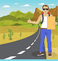 hitchhiking man with backpack and sunglasses vector image