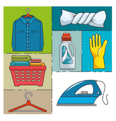Laundry icon set vector