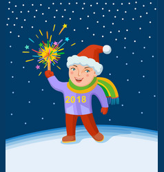 Little boy with fireworks in his hand vector