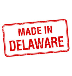 Made in delaware red square isolated stamp vector