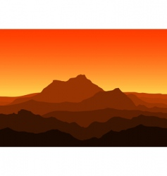 Mountains at dusk vector