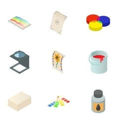 Print icons set cartoon style vector