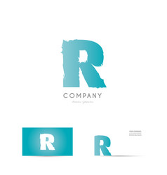 r blue letter alphabet logo icon design vector image