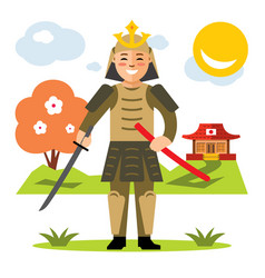 Samurai japan flat style colorful cartoon vector