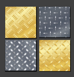 Seamless diamond metal background set with tread vector