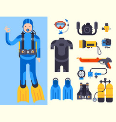 Set of flat elements for spearfishing diving vector