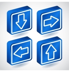 Set of four lighting blue buttons with arrows vector image