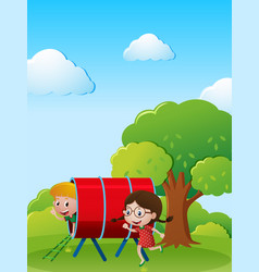 two kids playing in the park vector image vector image