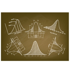 Normal distribution diagram or bell curve charts vector