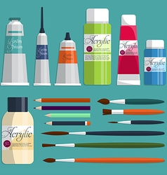 Big collection paints brushes and pencils on the vector