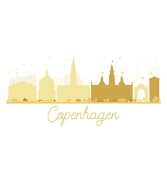 Copenhagen city skyline golden silhouette vector