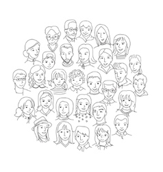 Big group of people round concept vector