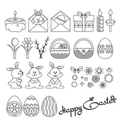 set easter icons on white vector image