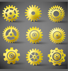 Golden gears icons set vector