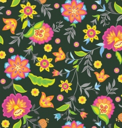 retro floral seamless vector image