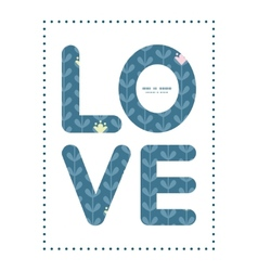 Blloming vines stripes love text frame vector