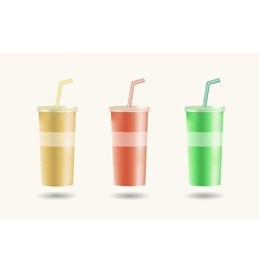 Disposable cups for beverages with straw vector