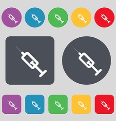 Syringe icon sign a set of 12 colored buttons flat vector