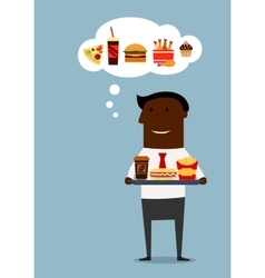 American businessman with fast food lunch vector