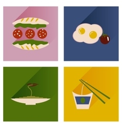 Flat icons collection with shadow food vector