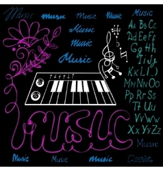 Music symbols alphabet vector