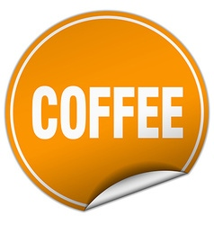 Coffee round orange sticker isolated on white vector