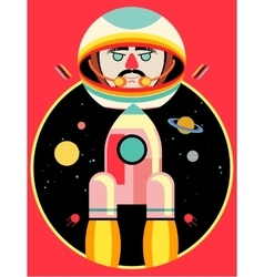 Astronaut and rocket on space backdrop vector