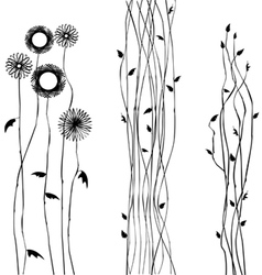 Abstract wild flower silhouettes vector image vector image