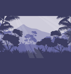 At morning scenery with mountain and jungle vector