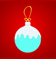 Blue x-ball with white snow on yellow string vector