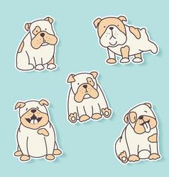bulldog stickers vector image vector image