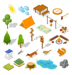 camping element or part set isometric view vector image vector image