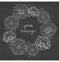 Chalkboard floral cirlce frame on blackboard vector