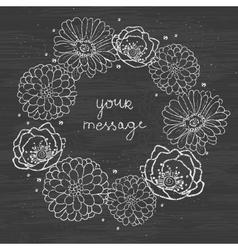 Chalkboard floral cirlce frame on blackboard vector image vector image
