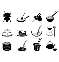 Chinese food icons vector